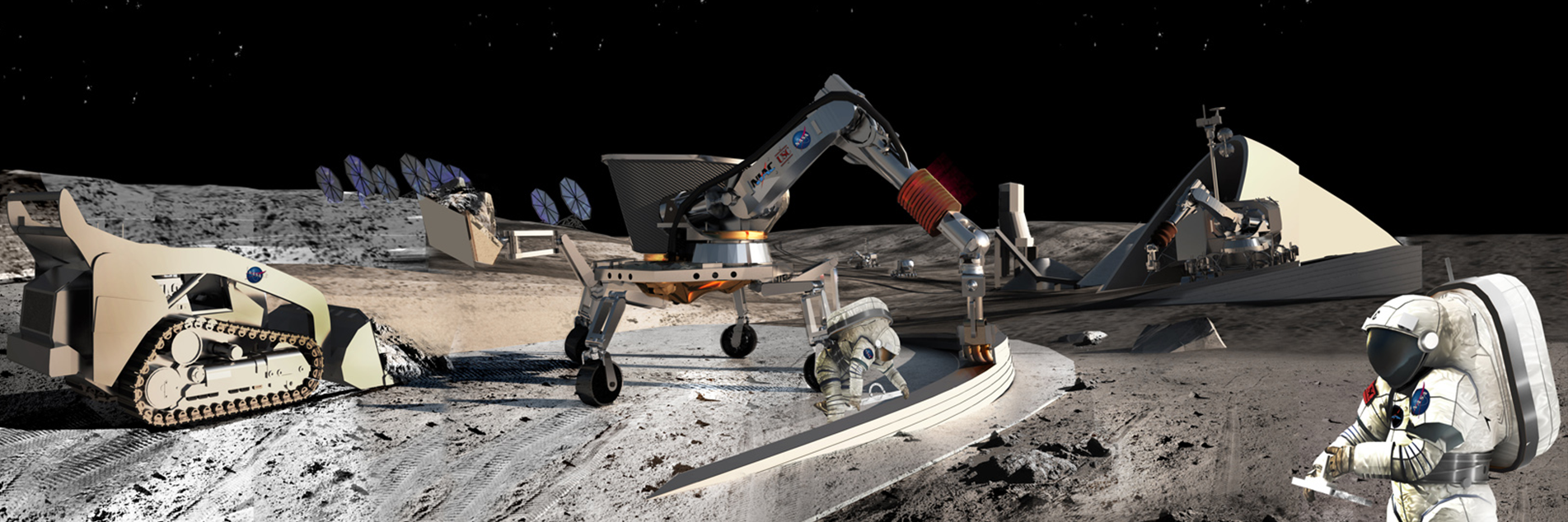 Lunar Mining. Credits: Contour Crafting and University of Southern California.