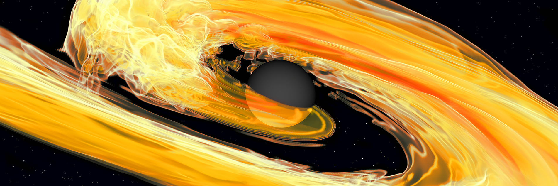 Artist's illustration of a merging black hole and neutron star