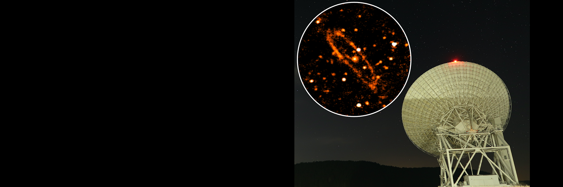 Radio image of Andromeda galaxy at 6.6 GHz (inset), captured using the Sardinia Radio Telescope in Italy.