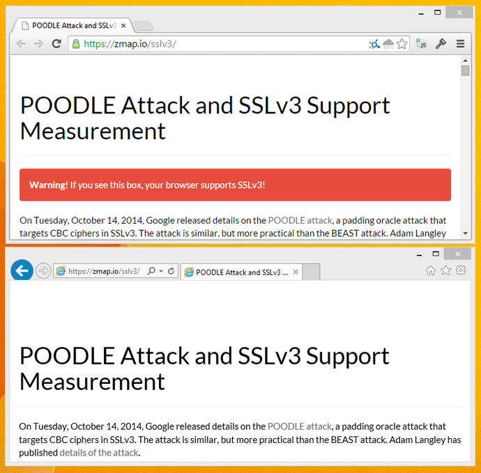 Chrome and IE SSLv3 test