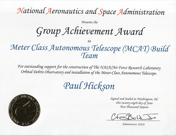 Hickson/MCAT Build Team Received NASA Group Award | UBC Physics & Astronomy